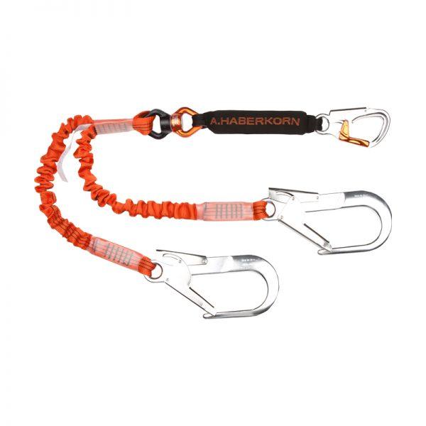 Orange dubbel kopplingslina med stora karbiner