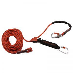Orange kopplingslina med replås och falldämpare