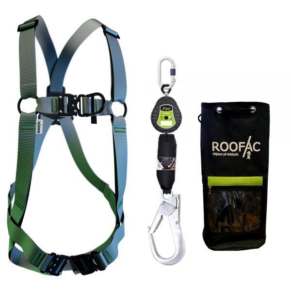 Fallskyddspaket innehållande fallskyddssele litet fallblock och fallskydds utrustningsväska.