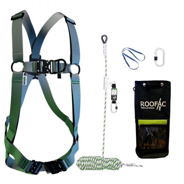Fallskyddspaket innehålande eco-fallskyddssele med 10 m kopplingslina och utrustningsväska
