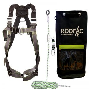 Fallskyddspaket med 10m fallskyddslina med replås och faldämpare samt utrustningssäck