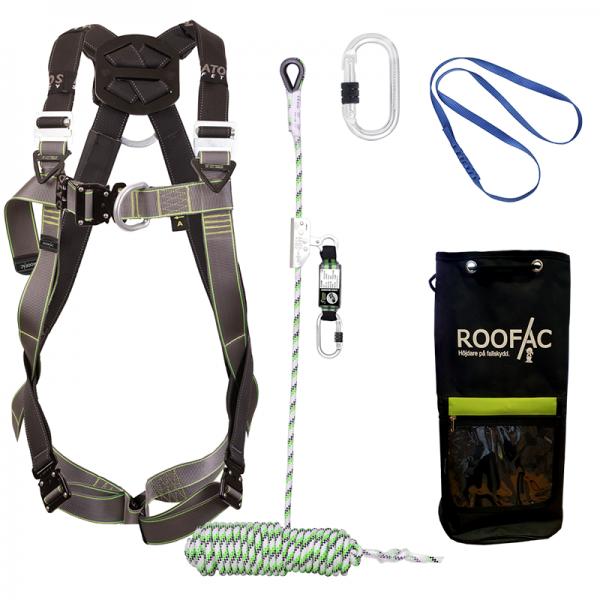 Fallskyddspaket med elastiskt sele samt 20m fallskyddslina med replås och faldämpare i ett. Samt en utrustningsväska