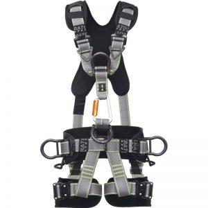 Grå / Svart Fallskyddssele med vaddering och utrustad med öglor för stödutrustning och sittdel