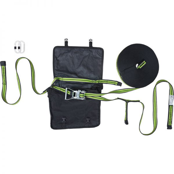 20 m temporär fallskyddslina med väska och förankringsslingor