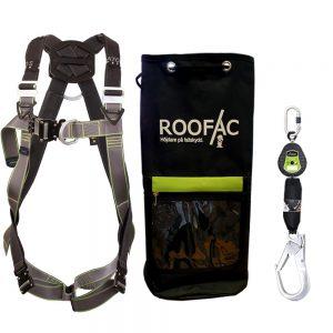 Fallskyddspaket med grön / grå fallsele och litet fallskyddsblock med stor karbin samt en utrustningsväska för fallskydd