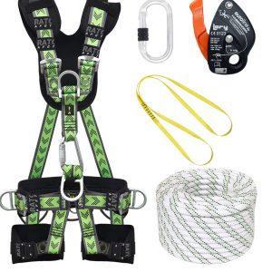 Fallskyddspaket för proffs som innehåller helkroppssele med stödutrustnings ringar och sittsele del och firningsdon